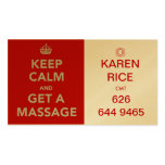 guarde la calma y consiga un masaje II Tarjeta De Visita