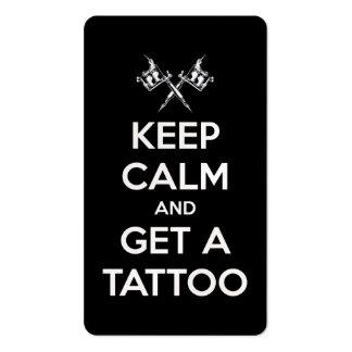 Guarde la calma y consiga un tatuaje tarjetas de visita