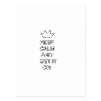Guarde la calma y consígala encendido tarjeta postal