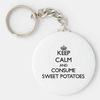 Guarde la calma y consuma las patatas dulces llaveros