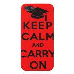 Guarde la calma y continúe al graduado iPhone 5 carcasas