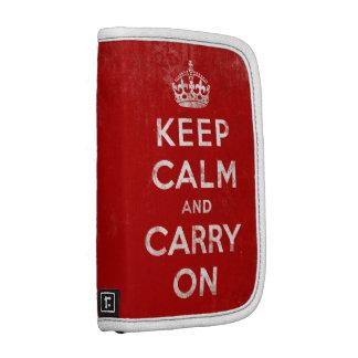 Guarde la calma y continúe al organizador en folio