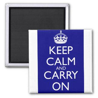 Guarde la calma y continúe Azules marinos Imán De Nevera