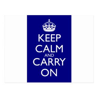 Guarde la calma y continúe: Azules marinos Postal
