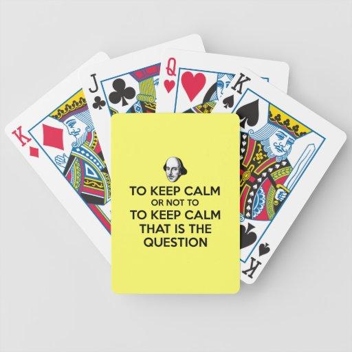Guarde la calma y continúe baraja de cartas