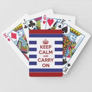 Guarde la calma y continúe blanco y azul rojos baraja cartas de poker