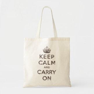 Guarde la calma y continúe bolsa tela barata