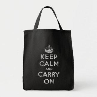 Guarde la calma y continúe bolsa tela para la compra