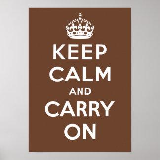 Guarde la calma y continúe (Brown) Impresiones