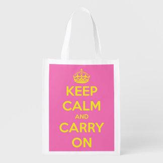 Guarde la calma y continúe Bubblegum rosado y la Bolsa Para La Compra