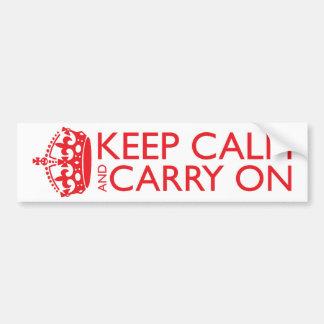 Guarde la calma y continúe pegatina de parachoque