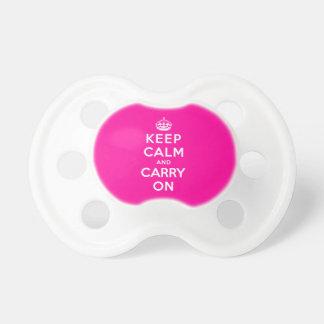 Guarde la calma y continúe chupetes de bebé