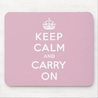 Guarde la calma y continúe color de rosa persa mouse pad