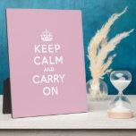 Guarde la calma y continúe color de rosa persa placas de plastico