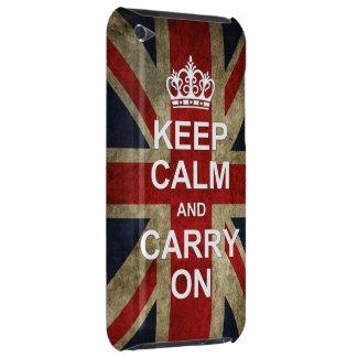Guarde la calma y continúe - con la bandera britán iPod touch Case-Mate carcasa