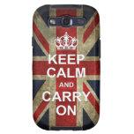 Guarde la calma y continúe - con la bandera britán samsung galaxy s3 carcasa