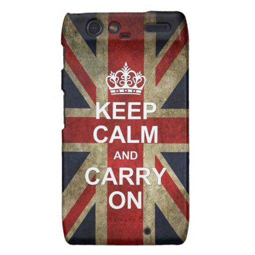 Guarde la calma y continúe - con la bandera britán motorola droid RAZR funda