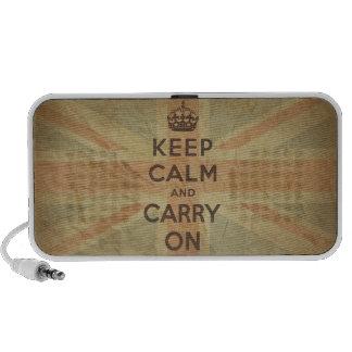 Guarde la calma y continúe con la bandera BRITÁNIC Altavoz De Viajar