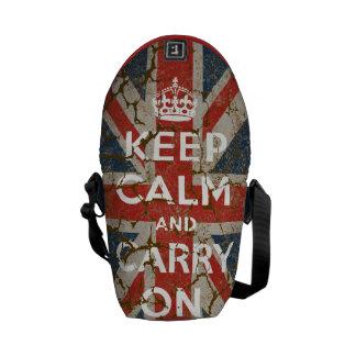 Guarde la calma y continúe con la bandera BRITÁNIC Bolsa De Mensajería