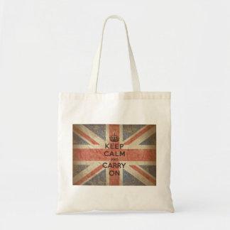 Guarde la calma y continúe con la bandera BRITÁNIC Bolsa Tela Barata