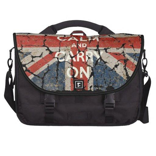 Guarde la calma y continúe con la bandera BRITÁNIC Bolsas Para Ordenador