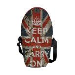 Guarde la calma y continúe con la bandera BRITÁNIC Bolsas De Mensajeria