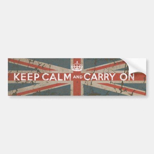 Guarde la calma y continúe con la bandera BRITÁNIC Pegatina De Parachoque