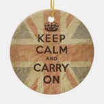 Guarde la calma y continúe con la bandera BRITÁNIC Ornamento De Reyes Magos