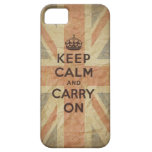 Guarde la calma y continúe con la bandera BRITÁNIC iPhone 5 Case-Mate Carcasa