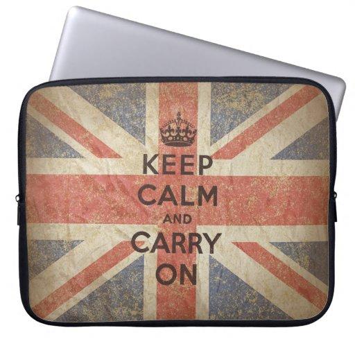 Guarde la calma y continúe con la bandera BRITÁNIC Funda Portátil