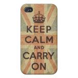 Guarde la calma y continúe con la bandera BRITÁNIC iPhone 4 Cobertura