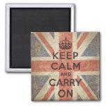 Guarde la calma y continúe con la bandera BRITÁNIC Imanes