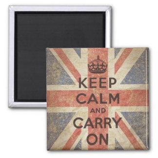 Guarde la calma y continúe con la bandera BRITÁNIC Imán Cuadrado