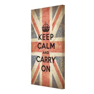 Guarde la calma y continúe con la bandera BRITÁNIC Impresiones En Lienzo Estiradas