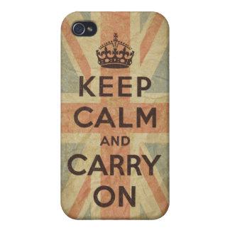Guarde la calma y continúe con la bandera BRITÁNIC iPhone 4/4S Carcasas
