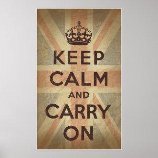 Guarde la calma y continúe con la bandera BRITÁNIC Posters