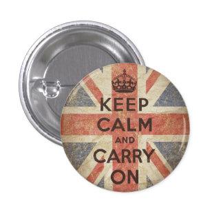 Guarde la calma y continúe con la bandera BRITÁNIC Pin Redondo De 1 Pulgada