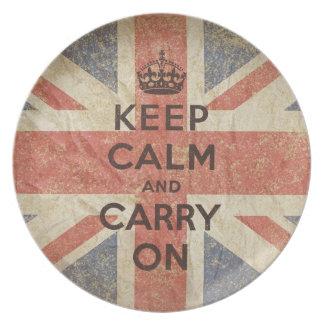 Guarde la calma y continúe con la bandera BRITÁNIC Platos