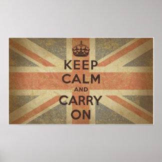 Guarde la calma y continúe con la bandera BRITÁNIC Póster