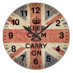 Guarde la calma y continúe con la bandera BRITÁNIC Reloj