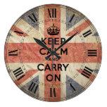 Guarde la calma y continúe con la bandera BRITÁNIC Relojes De Pared