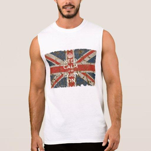 Guarde la calma y continúe con la bandera BRITÁNIC Remeras Sin Mangas