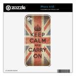 Guarde la calma y continúe con la bandera BRITÁNIC Calcomanías Para El iPhone 4