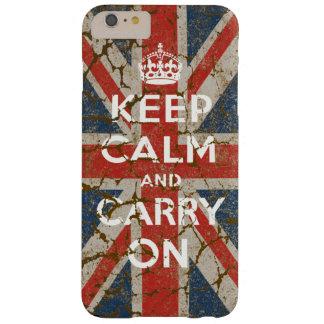 Guarde la calma y continúe con la bandera funda barely there iPhone 6 plus