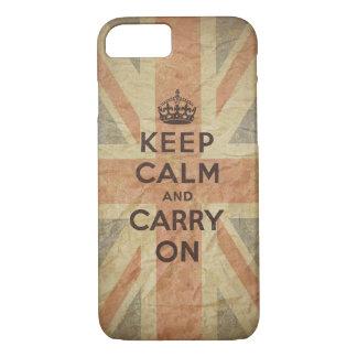 Guarde la calma y continúe con la bandera funda iPhone 7