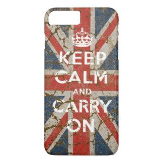 Guarde la calma y continúe con la bandera funda iPhone 7 plus