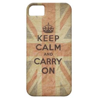 Guarde la calma y continúe con la bandera funda para iPhone SE/5/5s