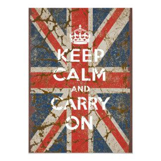 """Guarde la calma y continúe con la bandera invitación 5"""" x 7"""""""