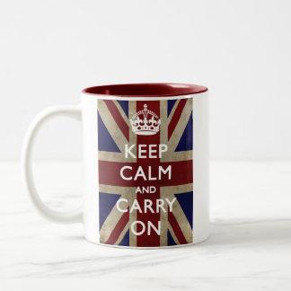 Guarde la calma y continúe con Union Jack Taza De Café De Dos Colores