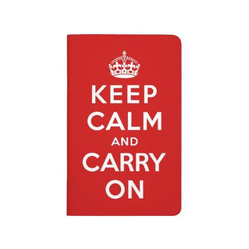 Guarde la calma y continúe cuaderno grapado